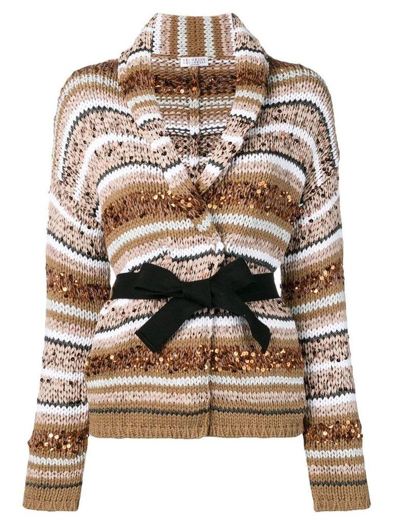 Brunello Cucinelli chunky knit cardi-coat - Neutrals