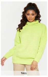 Tall Neon Lime Roll Neck Oversized Chunky Knit Jumper, Neon Lime