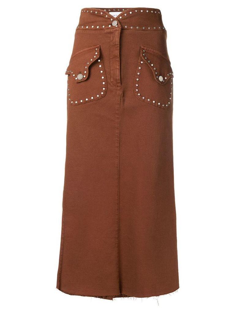 Alberta Ferretti stud-embellished midi skirt - Brown
