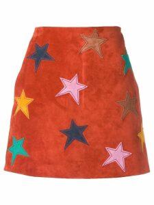Saint Laurent star patch mini skirt - Red