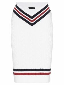 Y/Project high-waisted contrast stripe knitted midi skirt - White