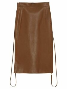 Burberry Double Zip Lambskin Skirt - Brown