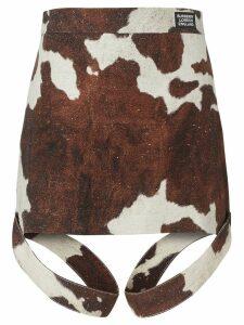 Burberry Strap Detail Animal Print Cotton Linen Mini Skirt - Brown