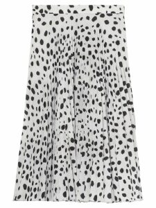 Burberry Dalmatian Print Crepe Pleated Skirt - White