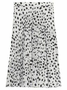 Burberry Dalmatian Print Crepe Pleated Skirt - White