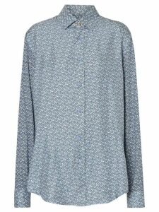 Burberry Monogram Print Silk Shirt - Blue