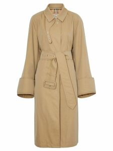 Burberry exaggerated-cuff car coat - Neutrals