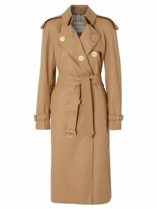 Burberry Press-stud Detail Cotton Gabardine Trench Coat - Brown