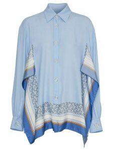 Burberry print-trim shirt - Blue