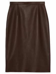 Burberry Lambskin Pencil Skirt - Brown