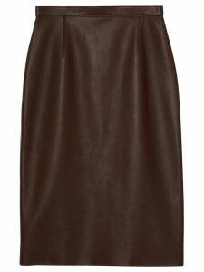 Burberry Lambskin Pencil Skirt - Brown