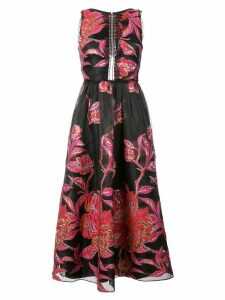 Marchesa Notte metallic floral jacquard dress - Black