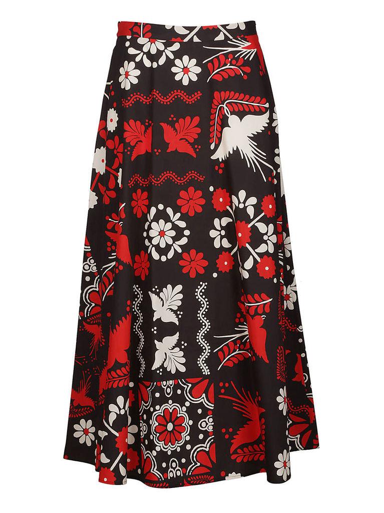 Red Valentino Printed Midi Skirt