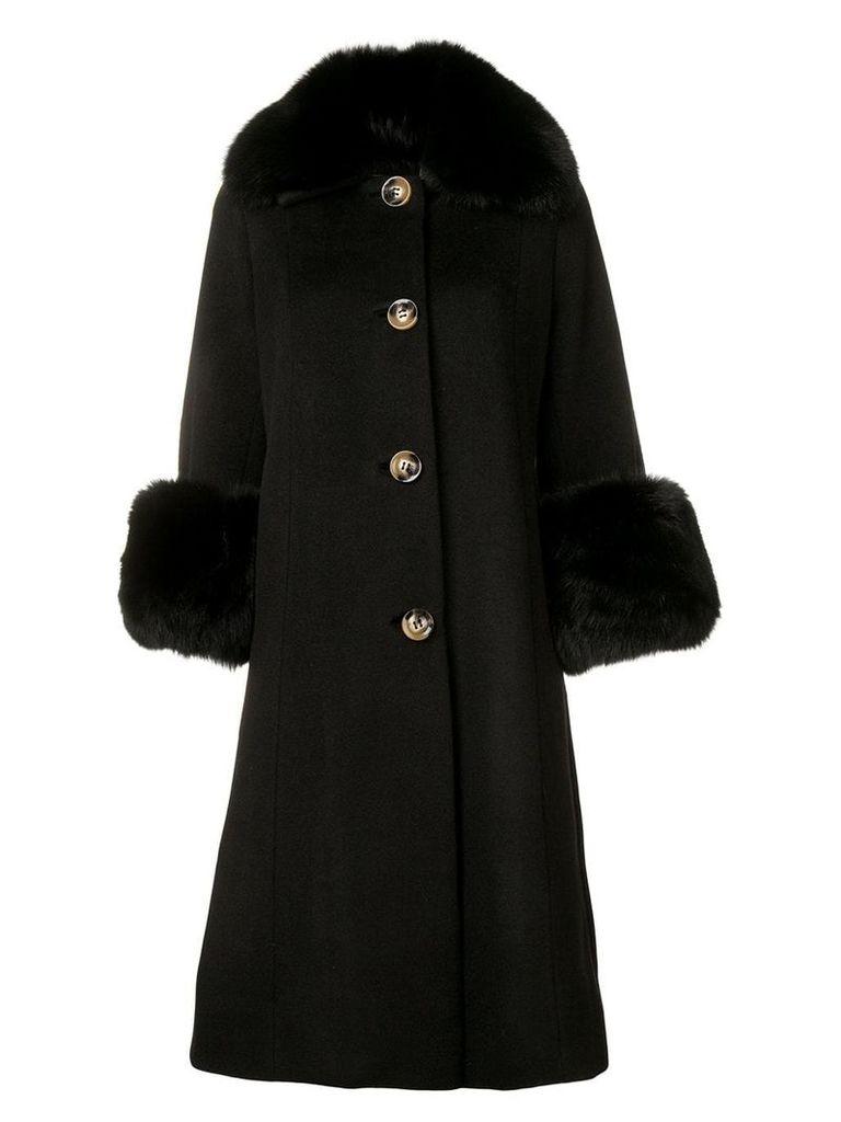 Saks Potts long fur-lined coat - Black