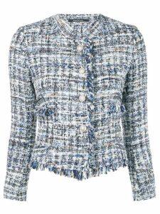 Tagliatore fringed tweed jacket - Blue