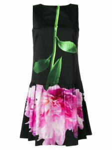 Moschino carnation print mini dress - Black