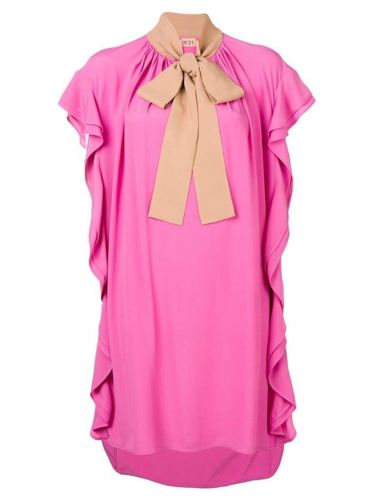 Nº21 bow detailed ruffled dress - Pink