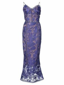 Marchesa Notte embroidered dress - Blue