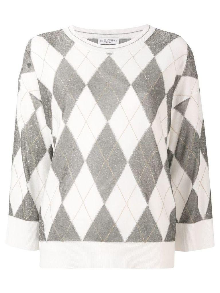 Ballantyne argyle knit jumper - White