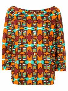 Aspesi geometric pattern button blouse - Orange