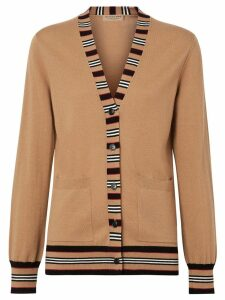 Burberry Icon Stripe Detail Merino Wool Cardigan - Neutrals