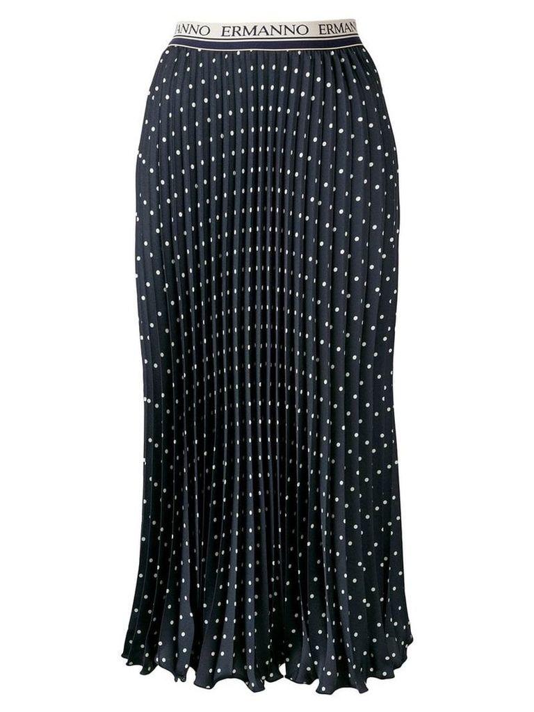 Ermanno Ermanno pleated polka-dot skirt - Blue