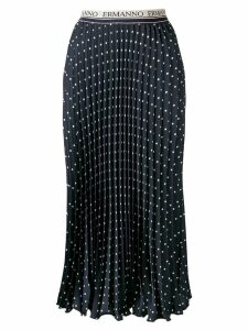 Ermanno Ermanno pleated polka-dot skirt - Blue