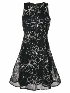 DKNY flower detail flare dress - Black