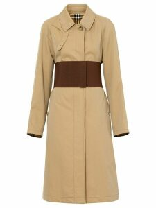 Burberry Corset-belt Cotton Gabardine Car Coat - Neutrals