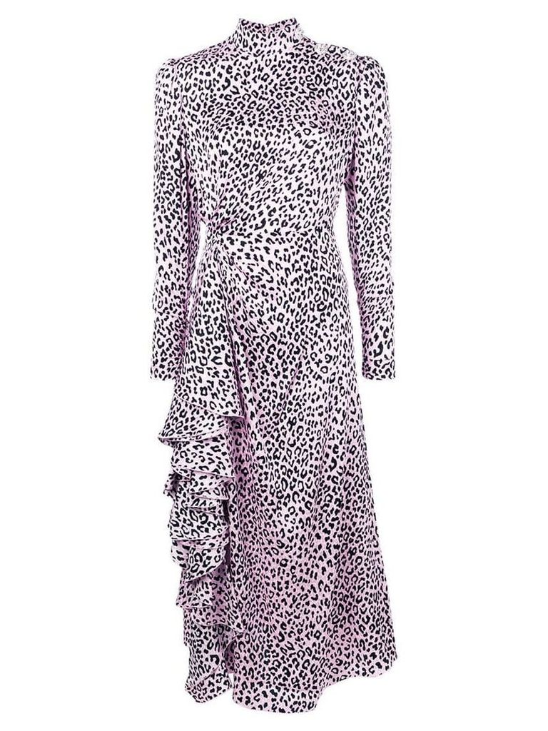 Alessandra Rich leopard print midi dress - Pink
