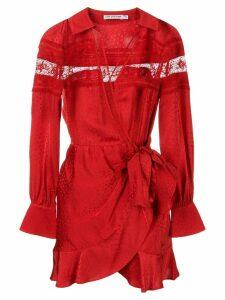 Self-Portrait long-sleeve shift dress - Red