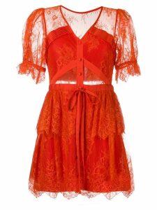Self-Portrait lace-detail shift dress - Orange