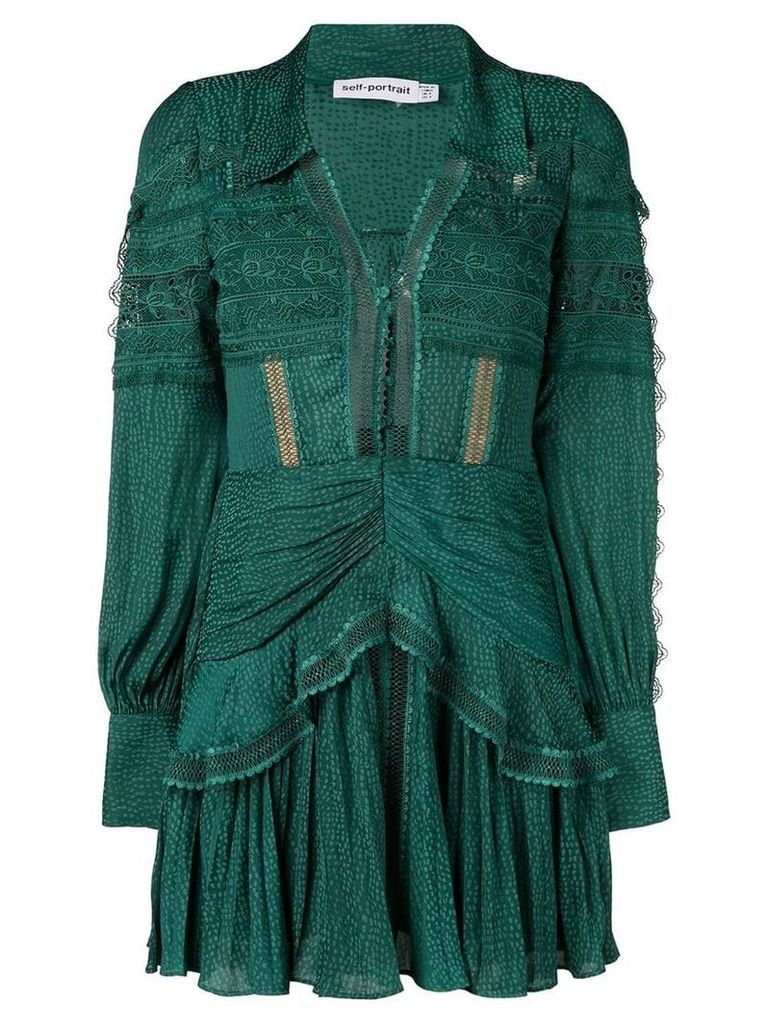 Self-Portrait long-sleeve shift dress - Green