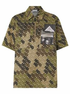 Burberry Short-sleeve Monogram Print Cotton Shirt - Green