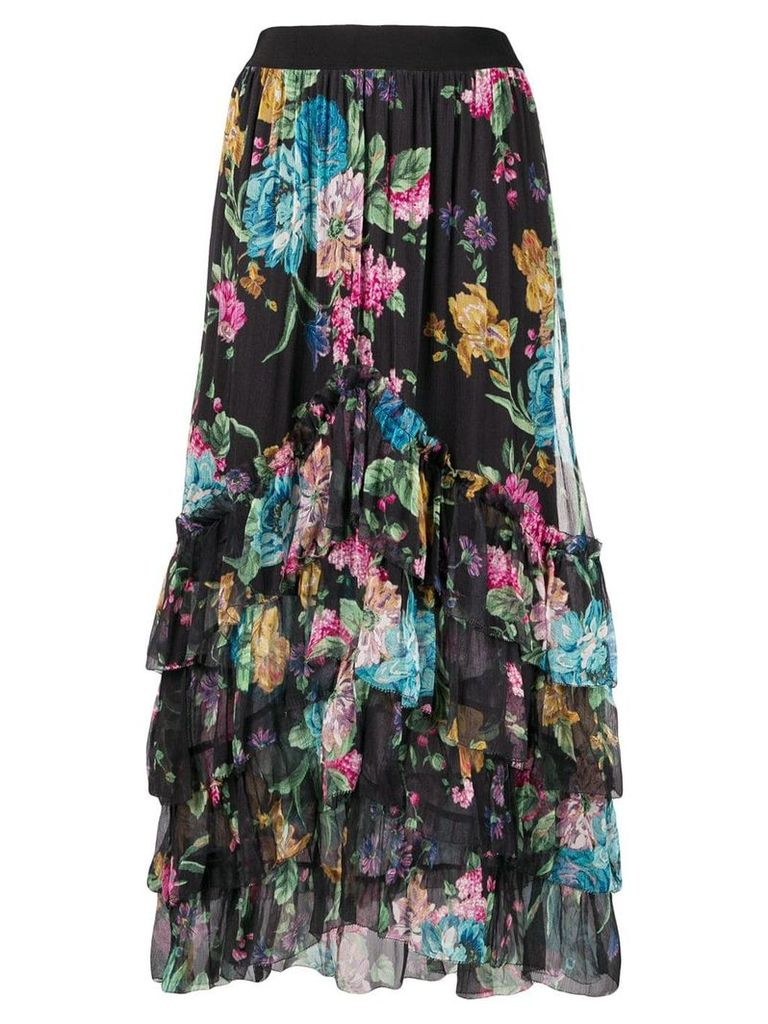 Zimmermann Ninety-Six chevron frill skirt - Black