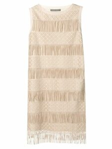 Alberta Ferretti fringed shift dress - Neutrals