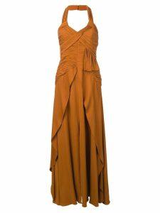 Self-Portrait long halterneck dress - Brown