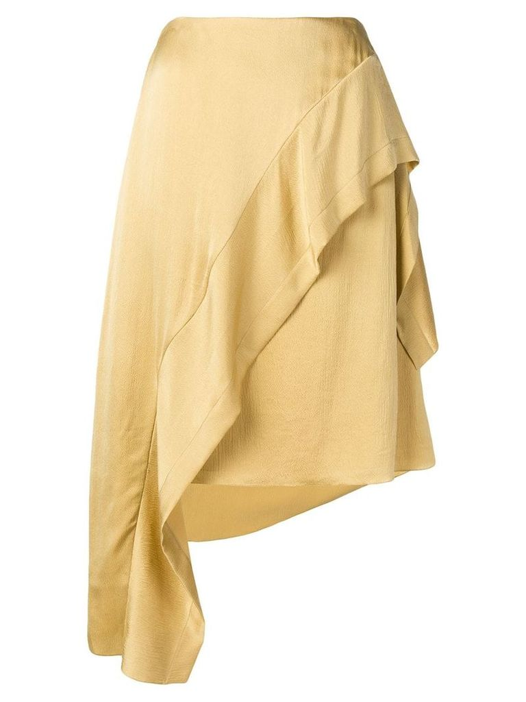 Nina Ricci asymmetric ruffled skirt - Neutrals