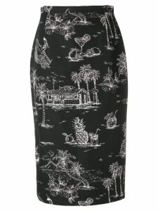 Nº21 printed pencil skirt - Black