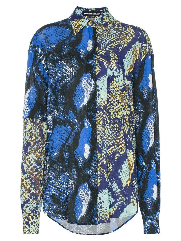 HOUSE OF HOLLAND contrast-panel snake-print shirt - Black