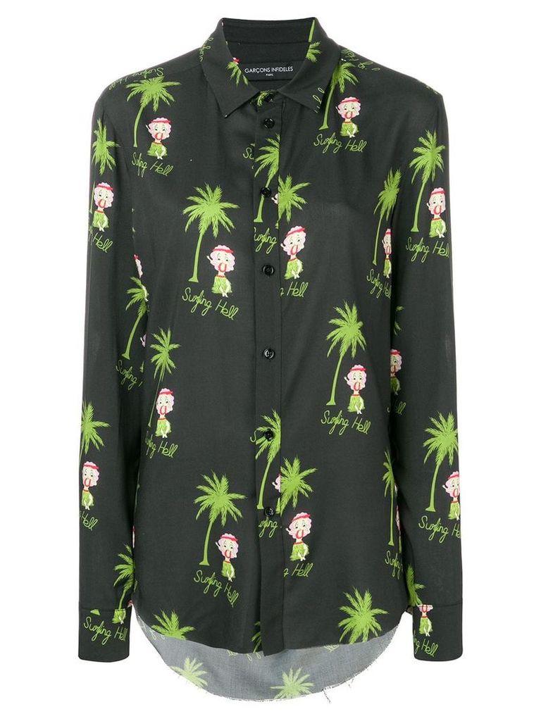 Garcons Infideles hula girl print shirt - Black
