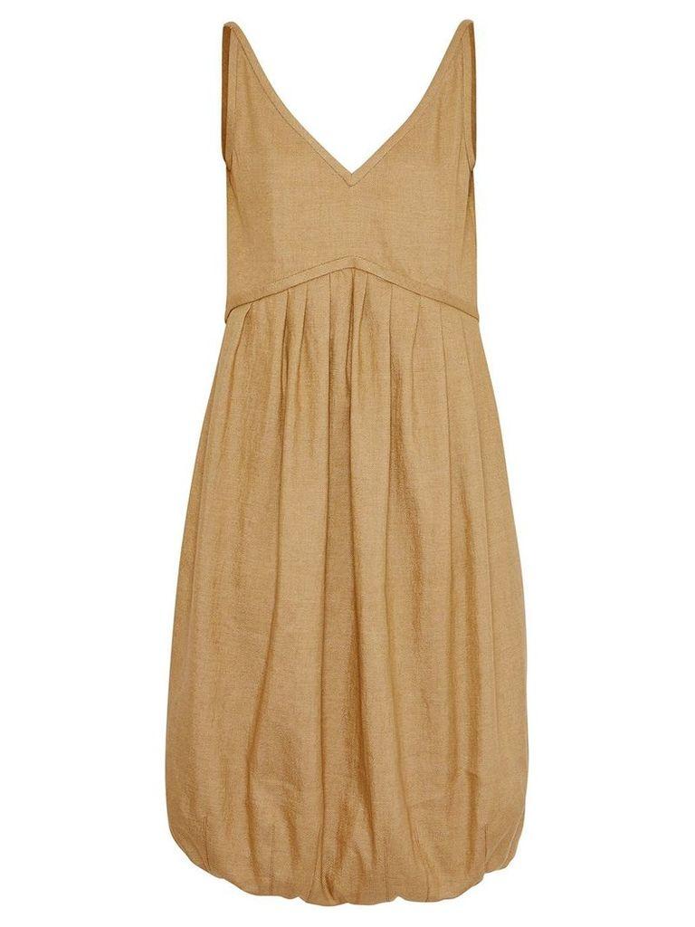 Burberry Linen Blend Bubble Hem Dress - Honey