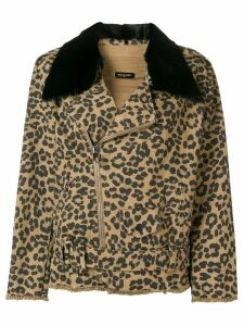 Simonetta Ravizza leopard print denim jacket - Brown
