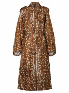 Burberry Exaggerated Cuff Deer Print Nylon Trench Coat - Brown