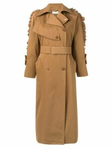 Max Mara ruffle sleeve trench coat - Brown