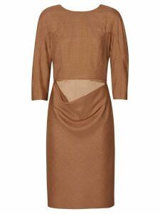 Burberry Double-waist Wool Silk Mohair Linen Shift Dress - Brown