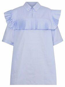 Burberry Short-sleeve Pleat Detail Cotton Shirt - Blue