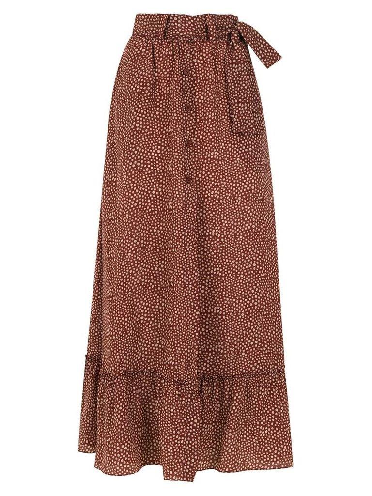 Egrey long printed skirt - Brown