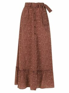Egrey long printed skirt - Brown