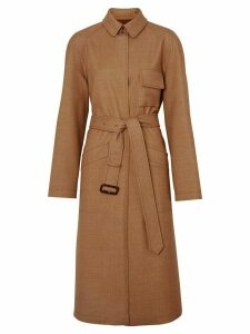 Burberry Bonded Wool Silk Mohair Linen Car Coat - Brown